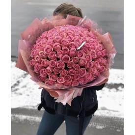 101 розовая роза 70 см.
